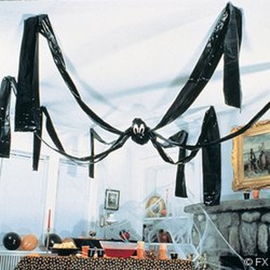 Giant Hanging Halloween Friendly Black Spider
